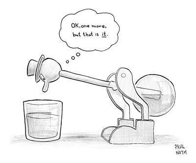 Toys Drawing - A Bobbing Duck Toy Is Dipping Its Beak by Paul Noth