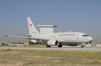 A Boeing 737 Aew&c Of The Turkish Air Art Print by Giovanni Colla