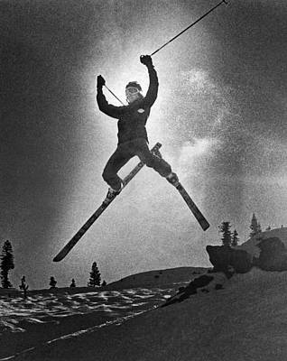 A Bold Leap By A Skier Print by Underwood Archives