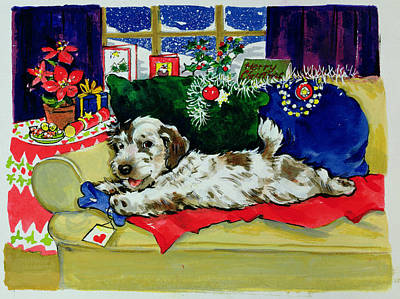 A Bone For Christmas Print by Diane Matthes
