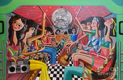 70s Painting - A Boogie Jeepney Ride by Ferdz Manaco