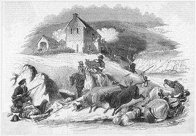 Border Reivers Drawing - A Border Cattle Raid Raiders by  Illustrated London News Ltd/Mar