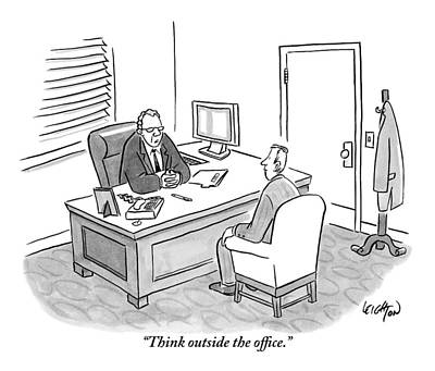 Job Drawing - A Boss Asks His Employee by Robert Leighton