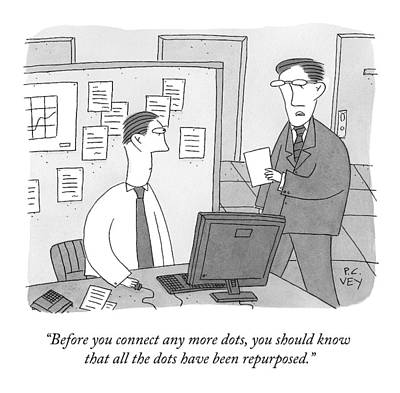 Drawing - A Boss Speaks To An Employee by Peter C. Vey
