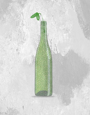 Florals Digital Art - A bottle with flower by Aged Pixel