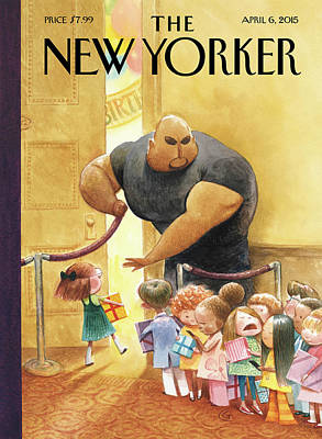 Birthday Present Painting - A Bouncer Lets Children Into An Exclusive by Carter Goodrich