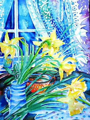 Daffodils Painting - A Bouquet Of April Daffodils  by Trudi Doyle
