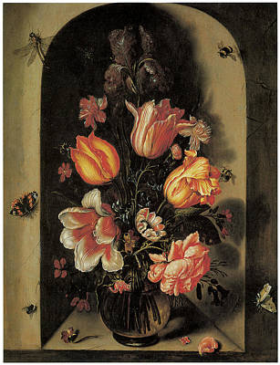 A Bouquet Set In A Deep Niche Print by Johannes Baers