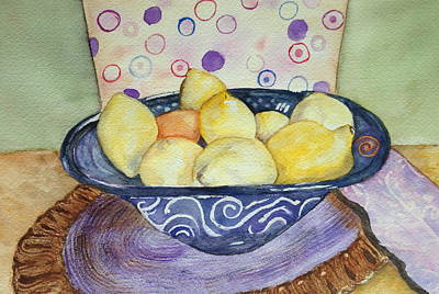 Painting - A Bowl Of Lemons by Carol Warner