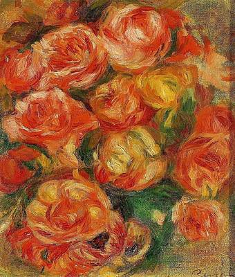 Pierre August Painting - A Bowlful Of Roses by Celestial Images