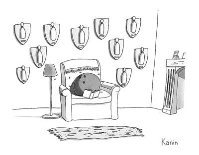 Trophies Drawing - A Bowling Ball Sits In A Chair by Zachary Kanin