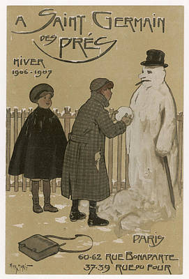 Fence Drawing - A Boy And A Girl Building A Snowman by Mary Evans Picture Library
