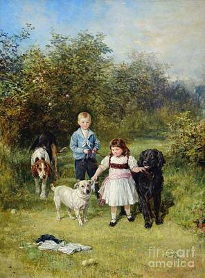 Painting - A Boy And Girl With Their Pets In A Garden by Celestial Images