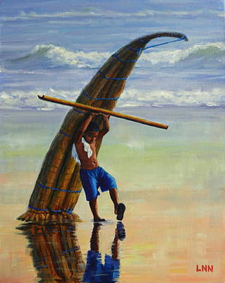 A Boy And His Caballito De Totora, Peru Impression Art Print