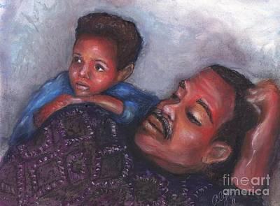 Art Print featuring the mixed media A Boy And His Dad by Alga Washington