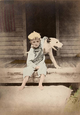 Print featuring the photograph A Boy And His Dog by Ron Crabb