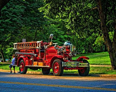Photograph - A Boy And His Fire Truck by Tim McCullough