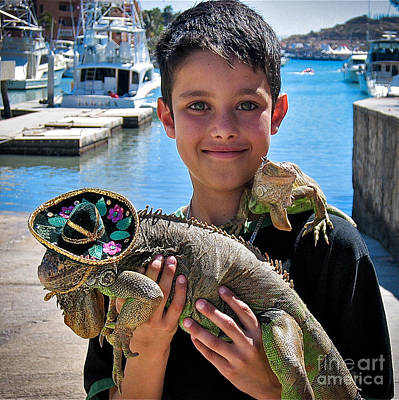 A Boy And His Iguanas Art Print by Amy Fearn