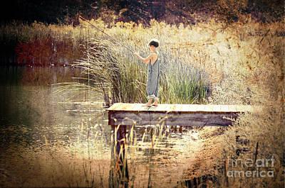 A Boy Fishing Art Print by Jt PhotoDesign