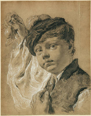 Pear Drawing - A Boy Holding A Pear Giacomo Piazzetta Giovanni Battista by Litz Collection