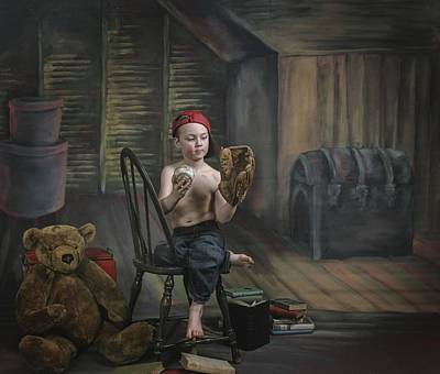 A Boy In The Attic With Old Relics Art Print by Pete Stec
