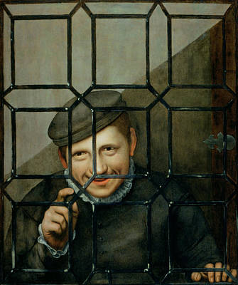 A Boy Looking Through A Casement Window Art Print by Flemish School