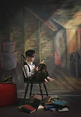 A Boy Posed Reading Old Books Victoria Art Print by Pete Stec