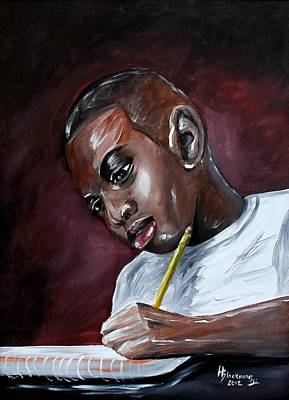 Painting - A Boy Studies by Henry Blackmon