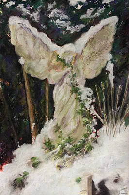 Pastel - A Breath Of Snow And Ivy,  Highgate Cemetery by Brenda Salamone