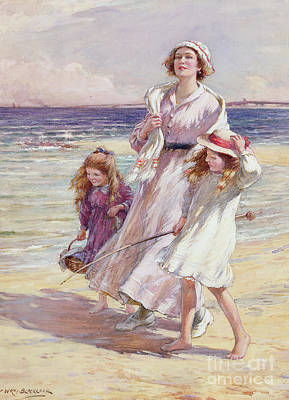 Maternal Painting - A Breezy Day At The Seaside by William Kay Blacklock