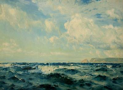 British Isles Wall Art - Painting - A Breezy Day Off The Isle Of Wight, 1890 by Henry Moore
