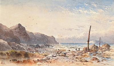 Rocky Beach Painting - A Breezy Day With Fisherfolk On The Foreshore by William Cook of Plymouth