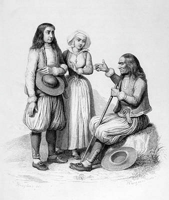 Storytellers Wall Art - Drawing - A Breton Storyteller, 1847 by Mary Evans Picture Library