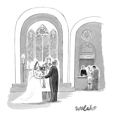 Buy Drawing - A Bride And Groom Getting Married by Liam Walsh