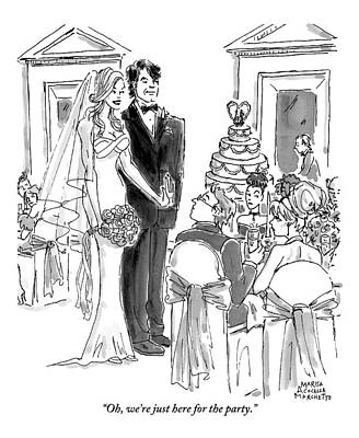 Party Drawing - A Bride And Groom To The Guests At Their Wedding by Marisa Acocella Marchetto