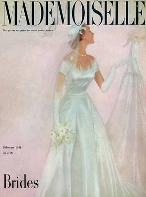 Satin Dress Photograph - A Bride Wearing A Mindelle Dress by Somoroff