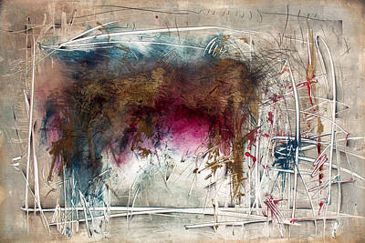 Monotype Mixed Media - A Brief History Of Time by Jeannette Debonne