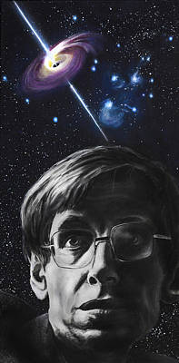 Physics Painting - A Brief History Of Time- Stephen Hawking by Simon Kregar