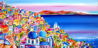Painting - A Bright Day In Santorini Greece by Roberto Gagliardi