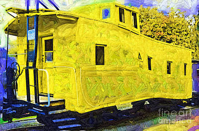 Caboose Digital Art - A Bright Yellow Caboose by Kirt Tisdale