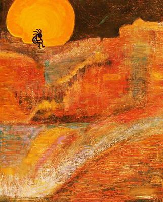 A Brighter Night With Kokopelli On A Marmalade Moon Night Print by Anne-Elizabeth Whiteway
