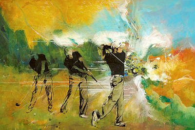 Golfer Painting - A Brilliant Shot by Catf