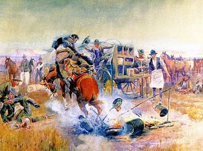 Bronc Painting - A Bronc To Breakfast by Pg Reproductions