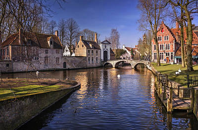 Historic Bridge Photograph - Blue Bruges by Carol Japp