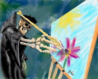 Reaper Mixed Media - A Brush With Death by Ori Bengal
