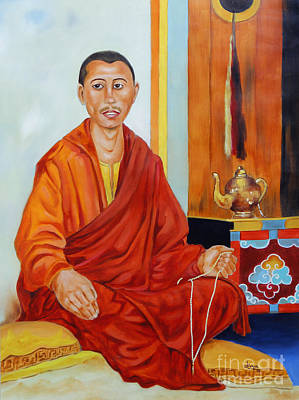 Monk Painting - A Buddhist Monk by Divya Kakkar