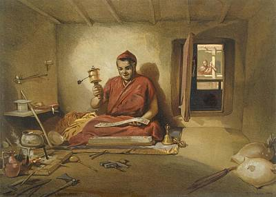 Buddhism Drawing - A Buddhist Monk, From India Ancient by William 'Crimea' Simpson