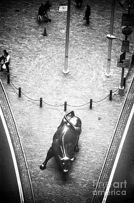 Photograph - A Bull On Wall Street 1990s by John Rizzuto