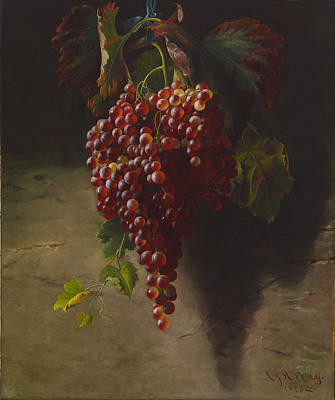 Vineyard Digital Art - A Bunch Of Grapes by Andrew John Henry Way