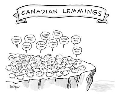 Canada Drawing - A Bunch Of Lemmings On A Cliff Saying After You by Robert Leighton